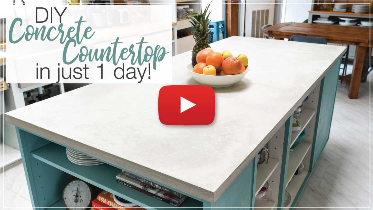 Concrete countertop video thumbnail with YouTube play button on the top.