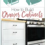 Pictures of face frame and frameless drawer base cabinets split out into parts and a picture of completed DIY drawer cabinets in a kitchen.