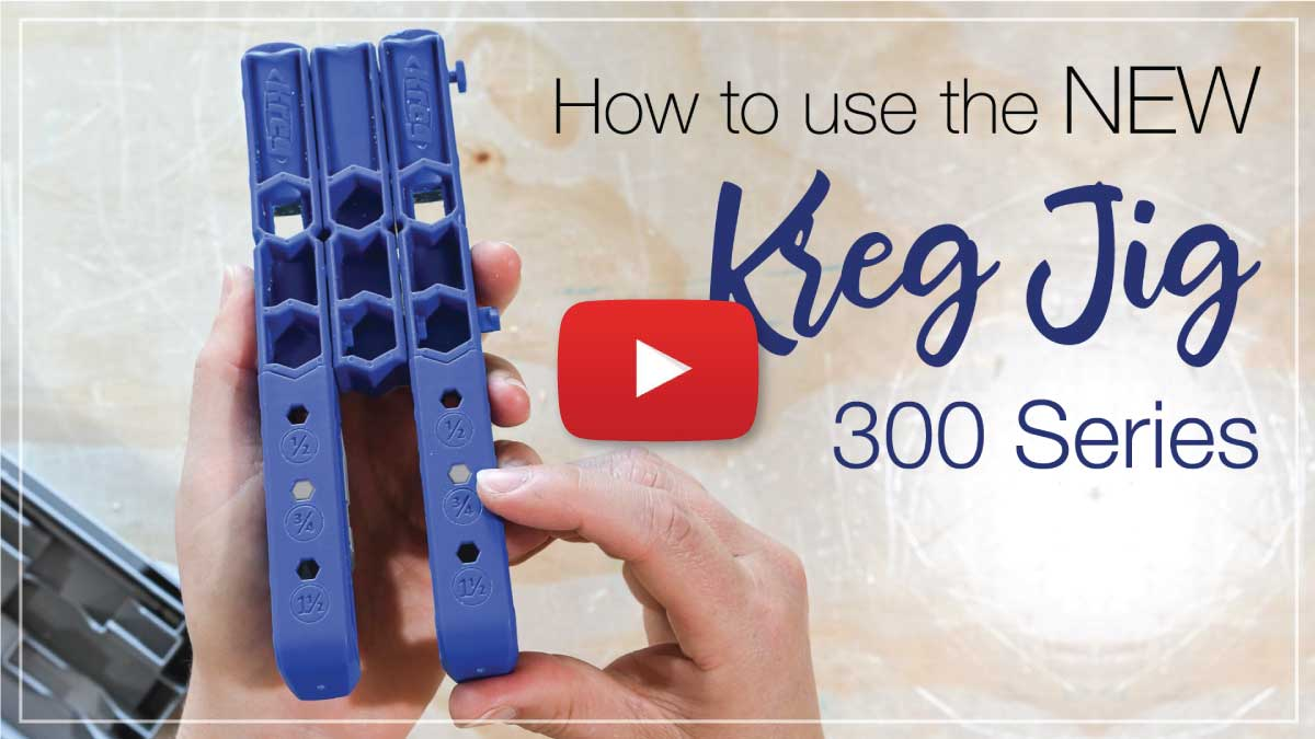 YouTube video thumbnail for the Kreg 300 series how to with play button on the top.
