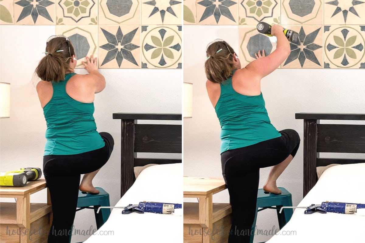 Two pictures showing lining up a tile on the wall and attaching it with a brad nail gun.