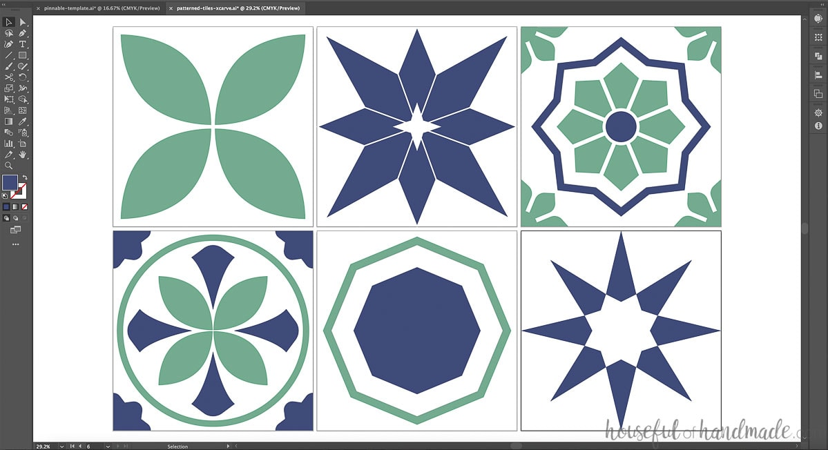 Screen shot of the colors tested in the designs for the wall tiles.