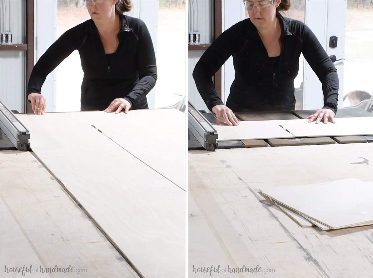 "Two pictures showing woman cutting the 1/4"" plywood into square tiles on the table saw."