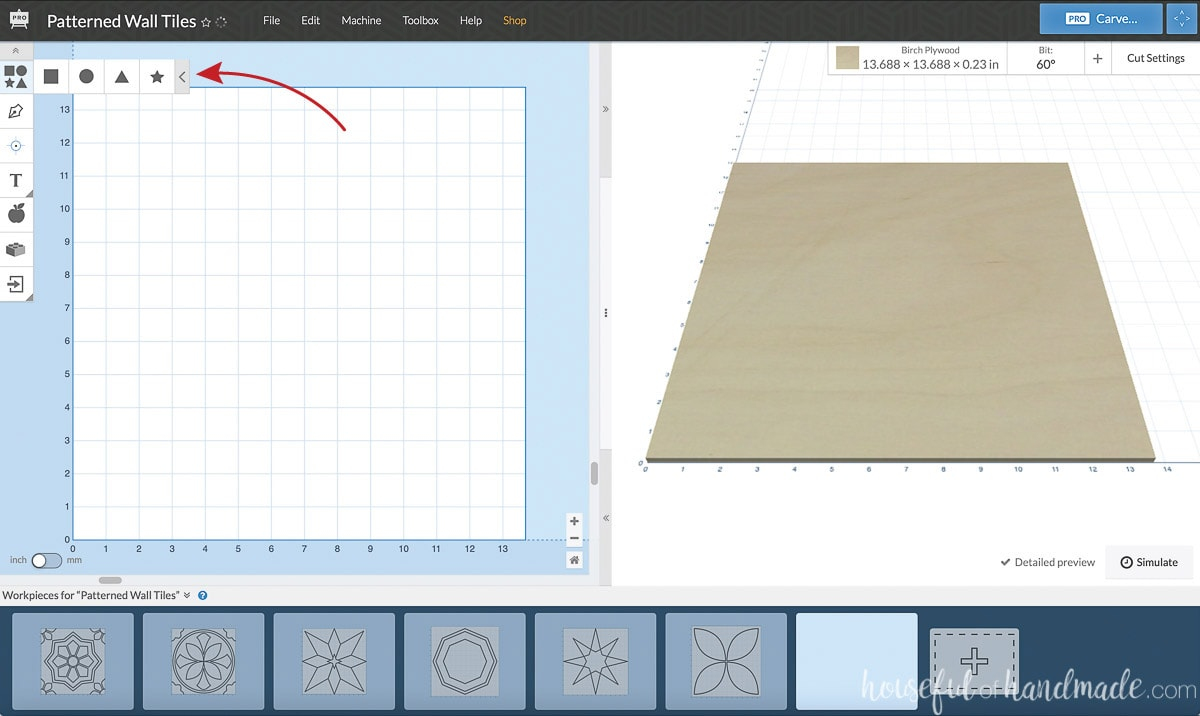 Screenshot of designing in the Easel software with an arrow pointing to the shapes panel.