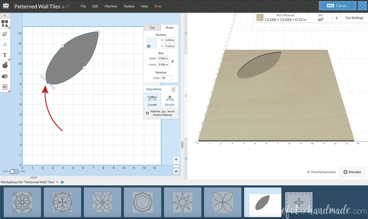 Showing how to edit the points in a shape in the Easel software.