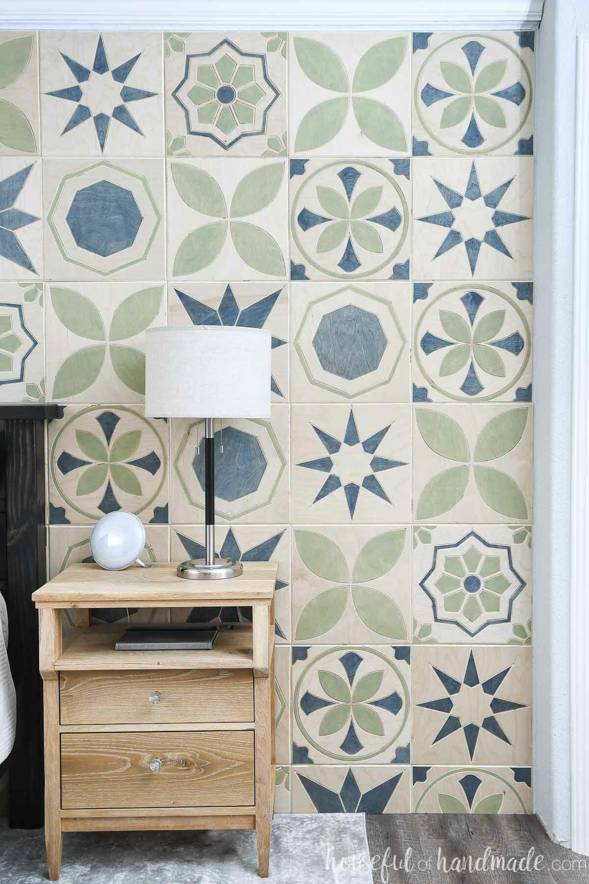 DIY accent wall that looks like patterned cement tiles.