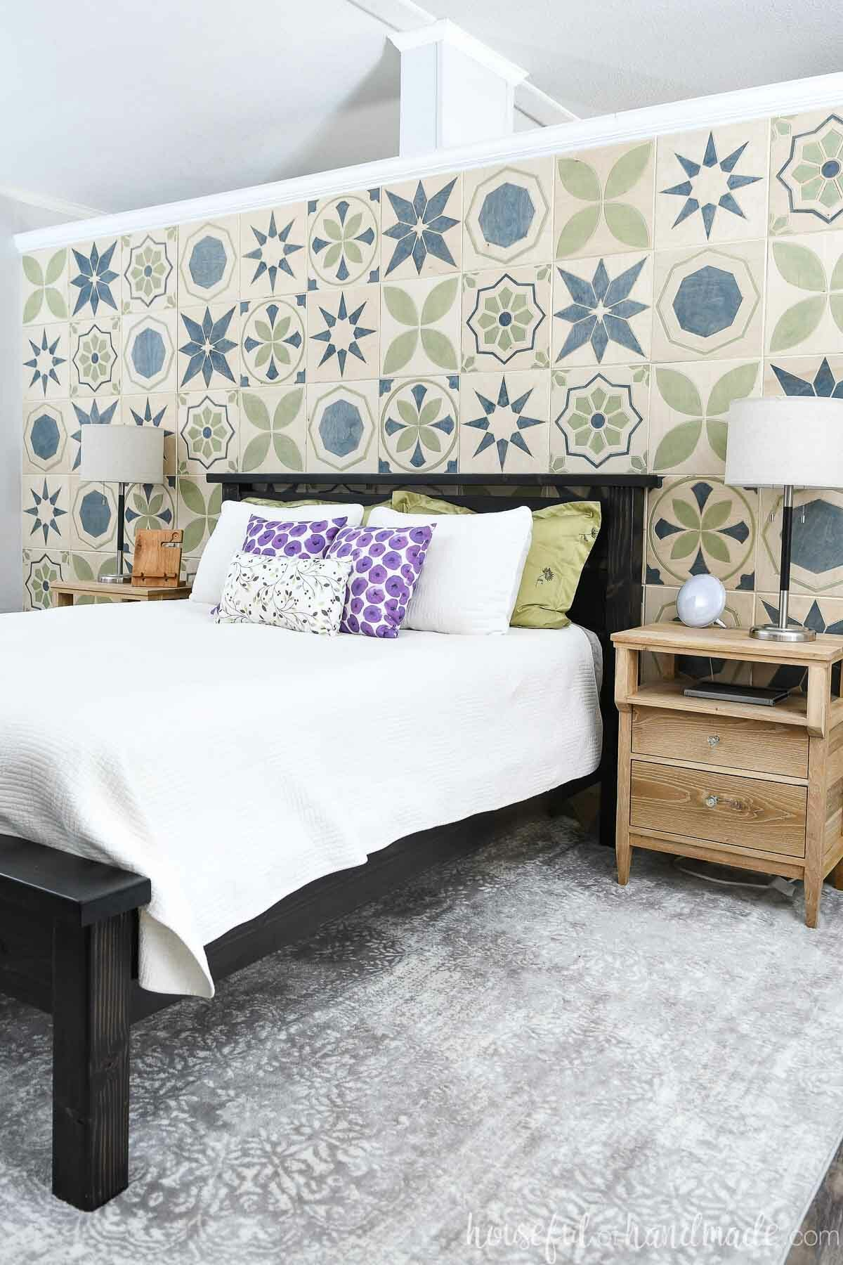 Bedroom accent wall of patterned tiles carved with a CNC machine.