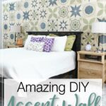 Accent wall in the bedroom with text overlay: Amazing DIY Accent Wall.