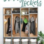 DIY mudroom storage lockers with stuff hanging inside it with text overlay.