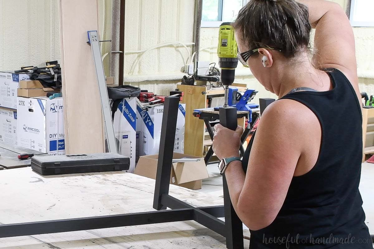 Drilling hole for figure 8 fasteners on the top of the legs.