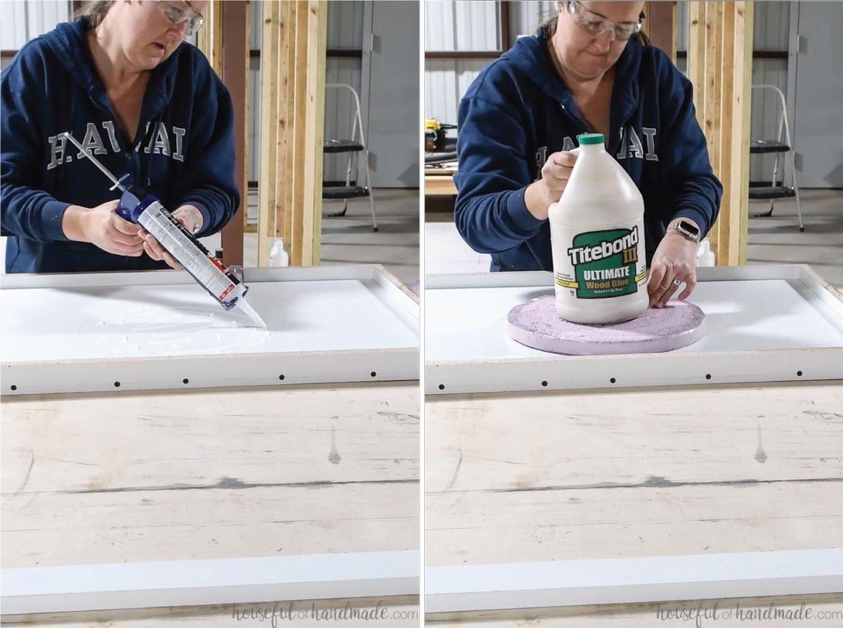 Attaching the foam circle to the vanity top form with silicone and weighing it down with a gallon of wood glue.