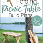 3D Sketch of the folding picnic table and two pictures of the completed table: one with it set up and one with it folded, with text overlay: Folding picnic table build plans.