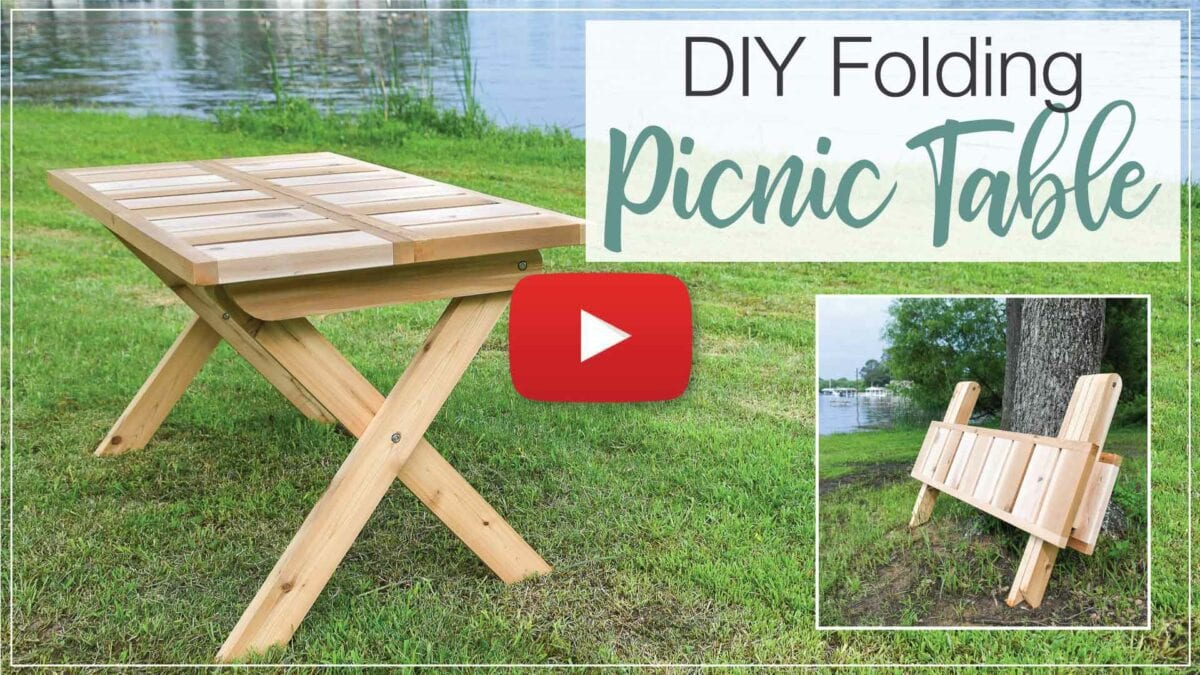 YouTube thumbnail for DIY folding picnic table with a red play button on the top.