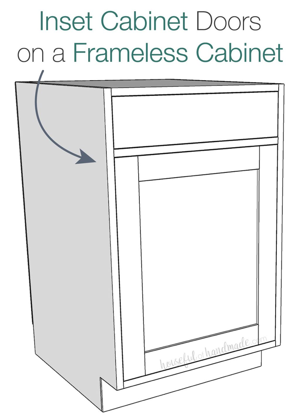 3D sketch of inset cabinet doors on a base cabinet with a drawer on top.