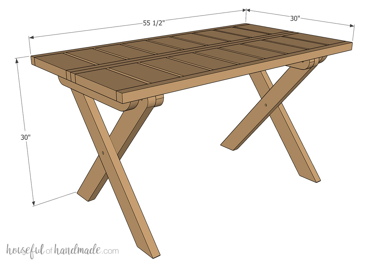3D sketch of the folding picnic table build plans with final dimensions noted.