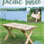 Wooden picnic table on the grass with small picture of the table folded up in the corner and text DIY Folding Picnic Table on it.