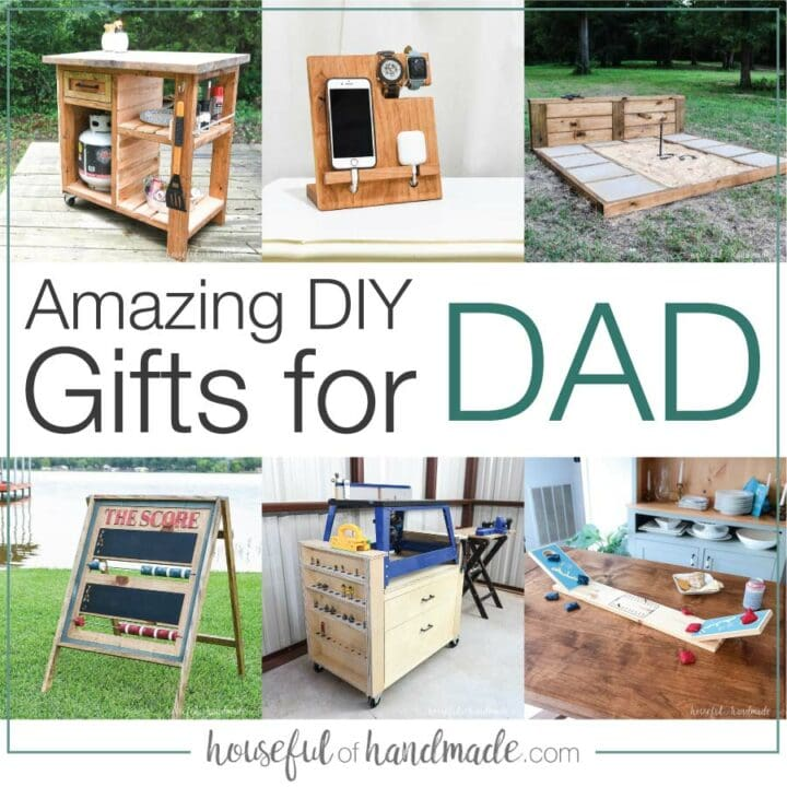 Collage of six pictures of DIY gifts for dad with text Amazing DIY Gifts for Dad in the middle.