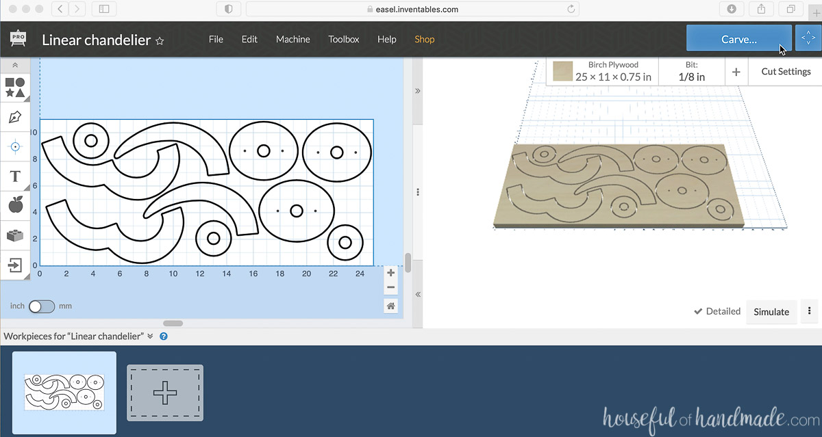 Screenshot of the Easel software getting ready to cut.