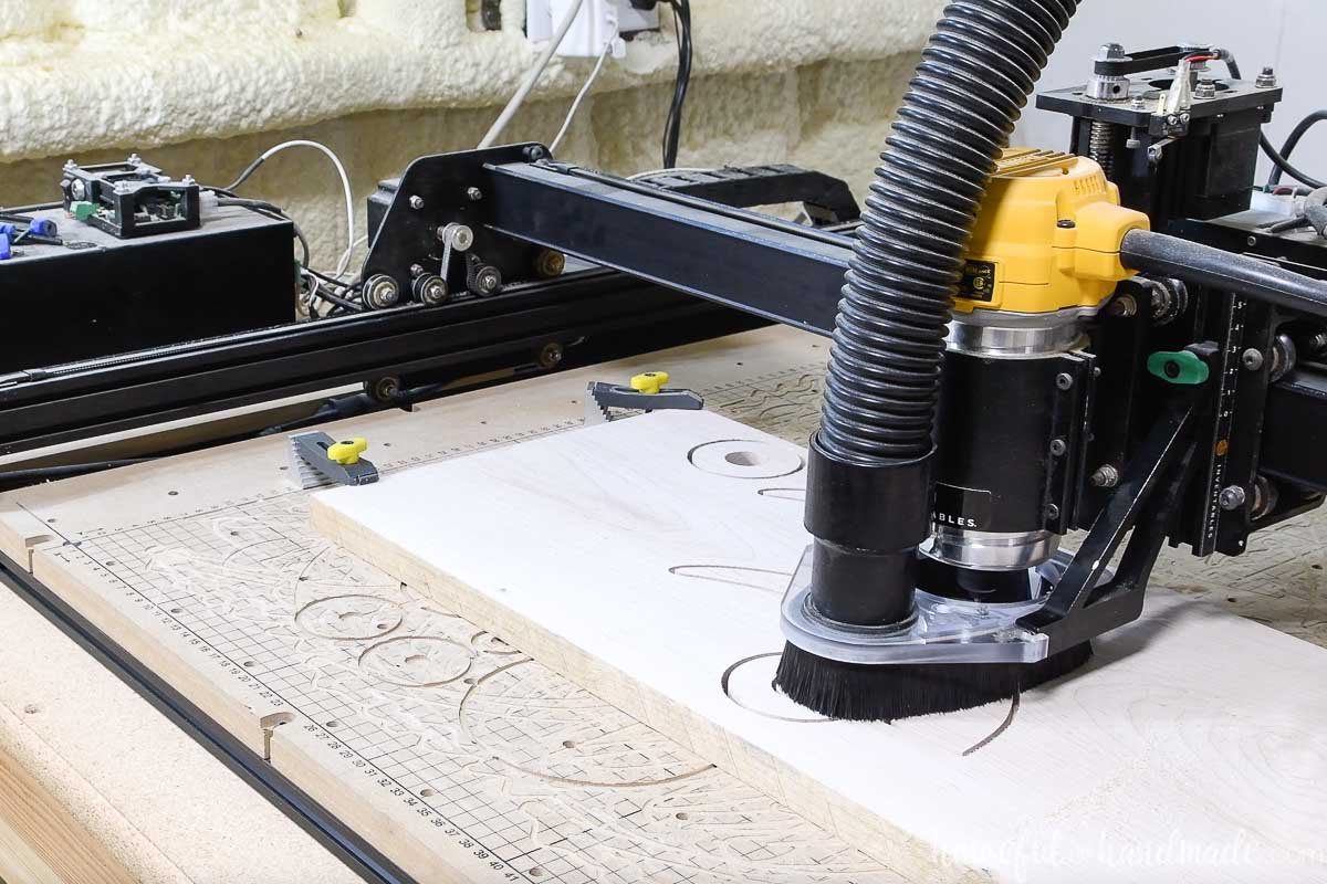 X-carve cutting out the pieces for the DIY linear wood chandelier.