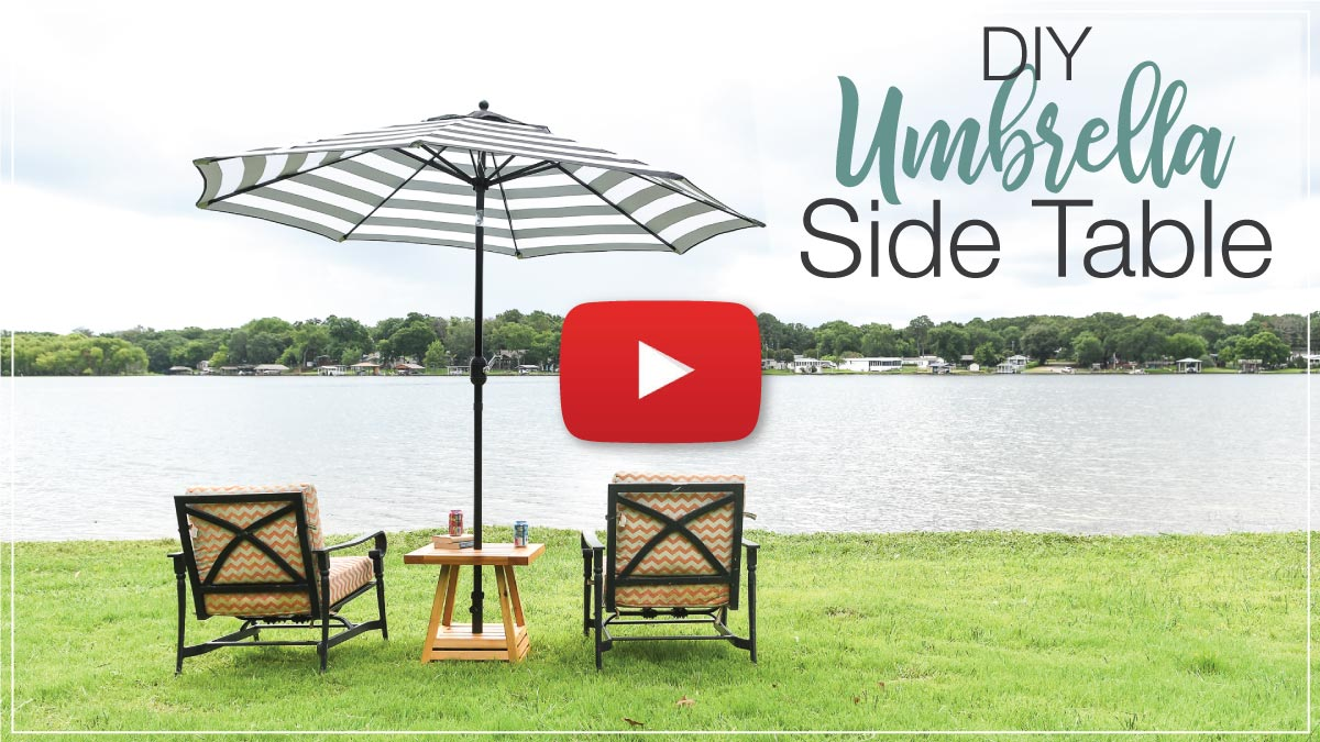 YouTube video thumbnail for the DIY umbrella side table with a play button in the center.