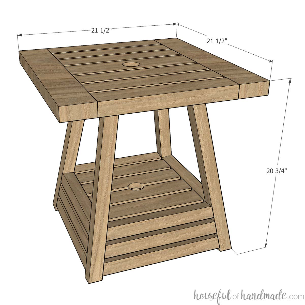 3d sketch of umbrella side table with measurements on it.