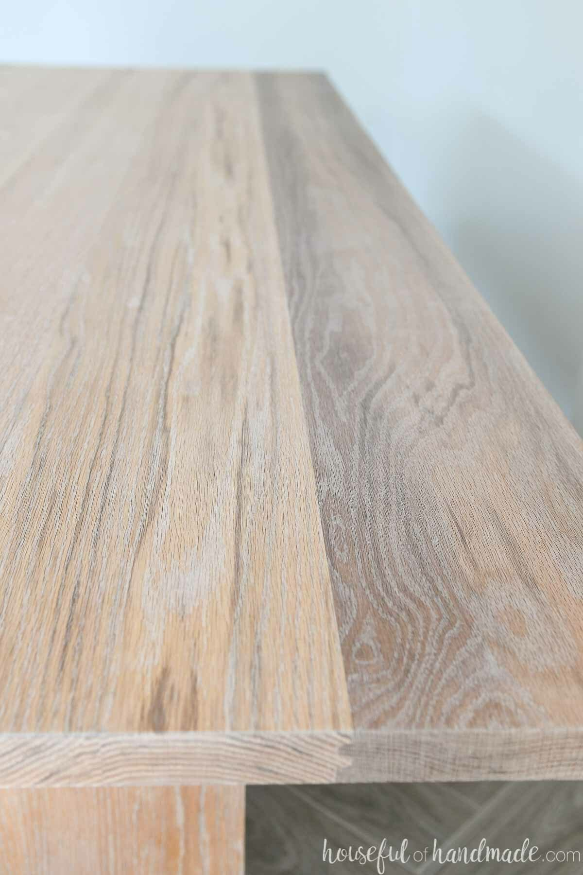 Close up of the oak grain with the Pickled White TrueTone color from Waterlox applied to it.