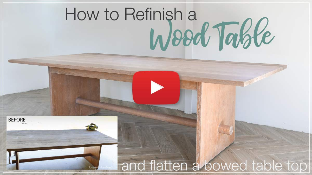 YouTube thumbnail with play icon for the How to Refinish a Wood Table video.