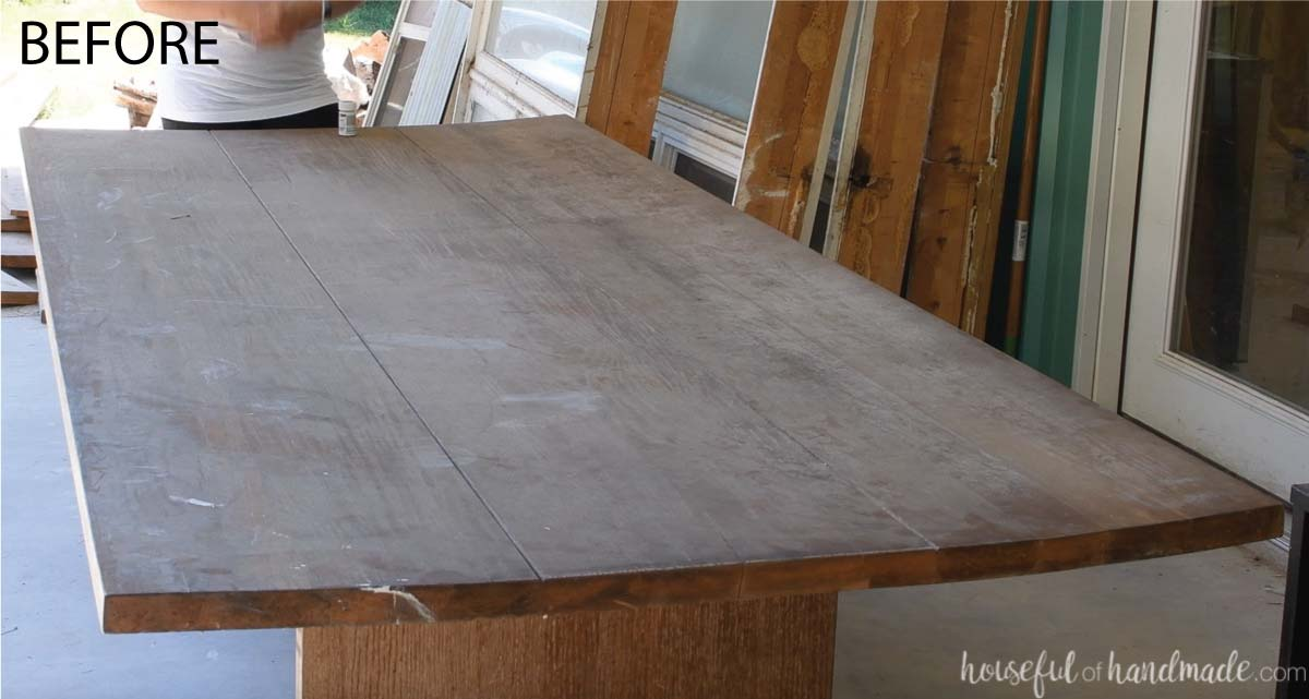 Before photo of the old dining table to be refurbished with a bowed table top.