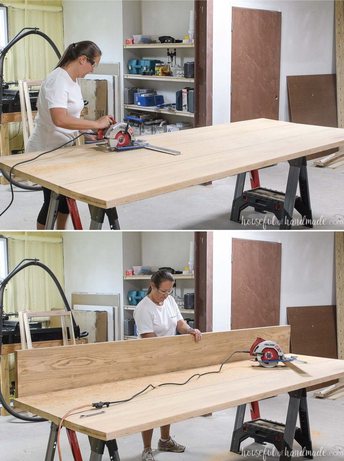 """Two pictures showing cutting the table top into 12"""" sections with a circular saw."""
