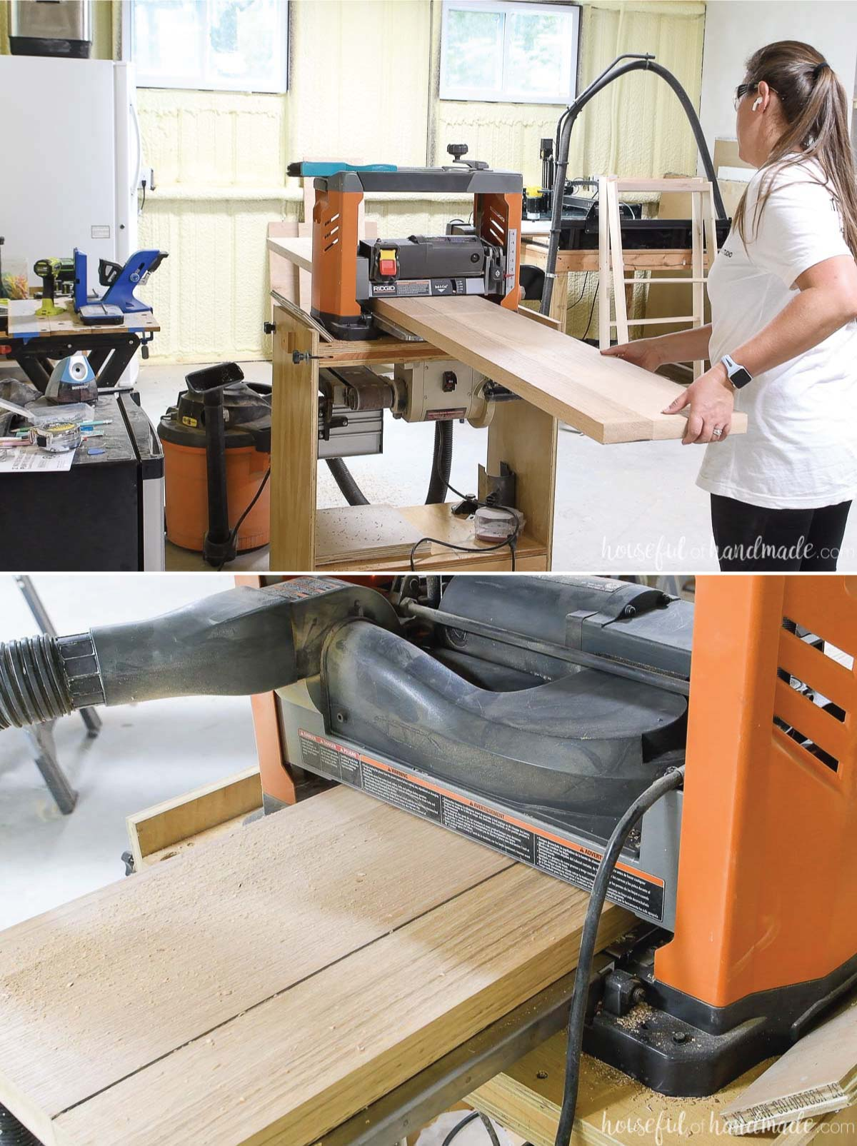 """Running 12"""" wide oak boards through a Ridgid planer to refinish the table top."""