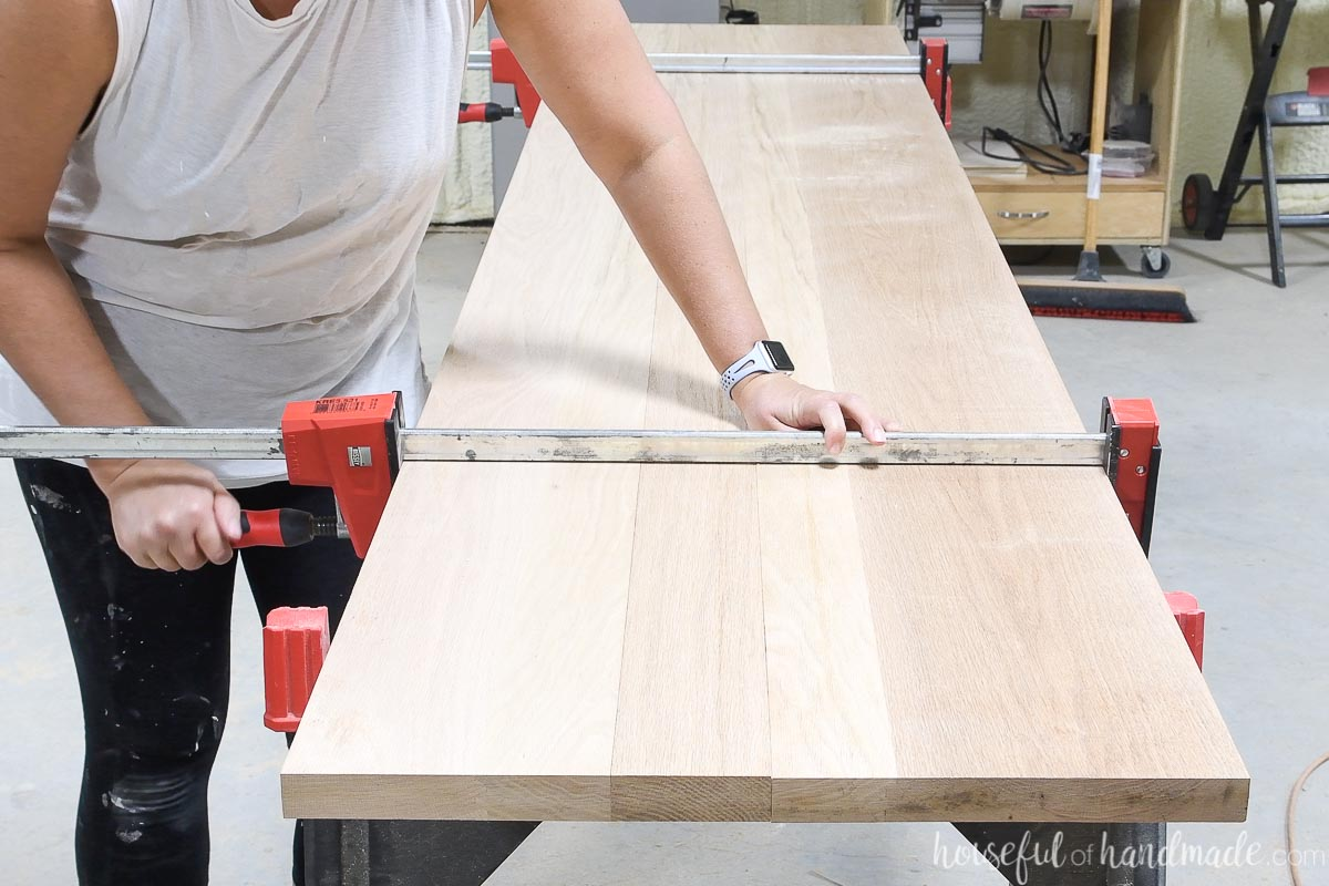 Two oak boards jointed together with a circular saw.