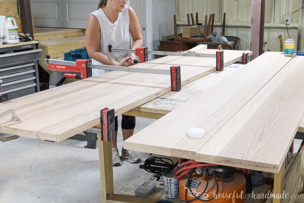 Clamping the two boards together for the table top glue up.