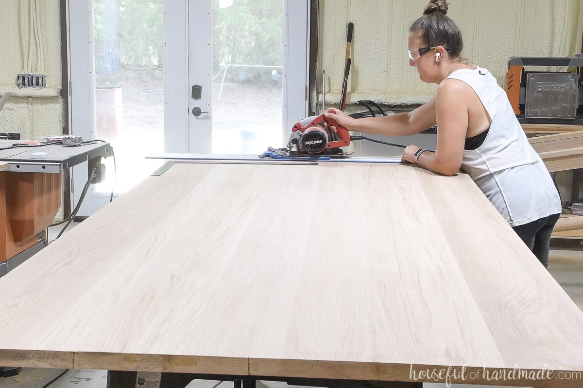 Trimming the edge of the glued up table top to be square.