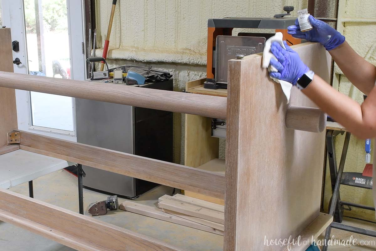 Applying the TrueTone finish over the Pickled White on the table base.