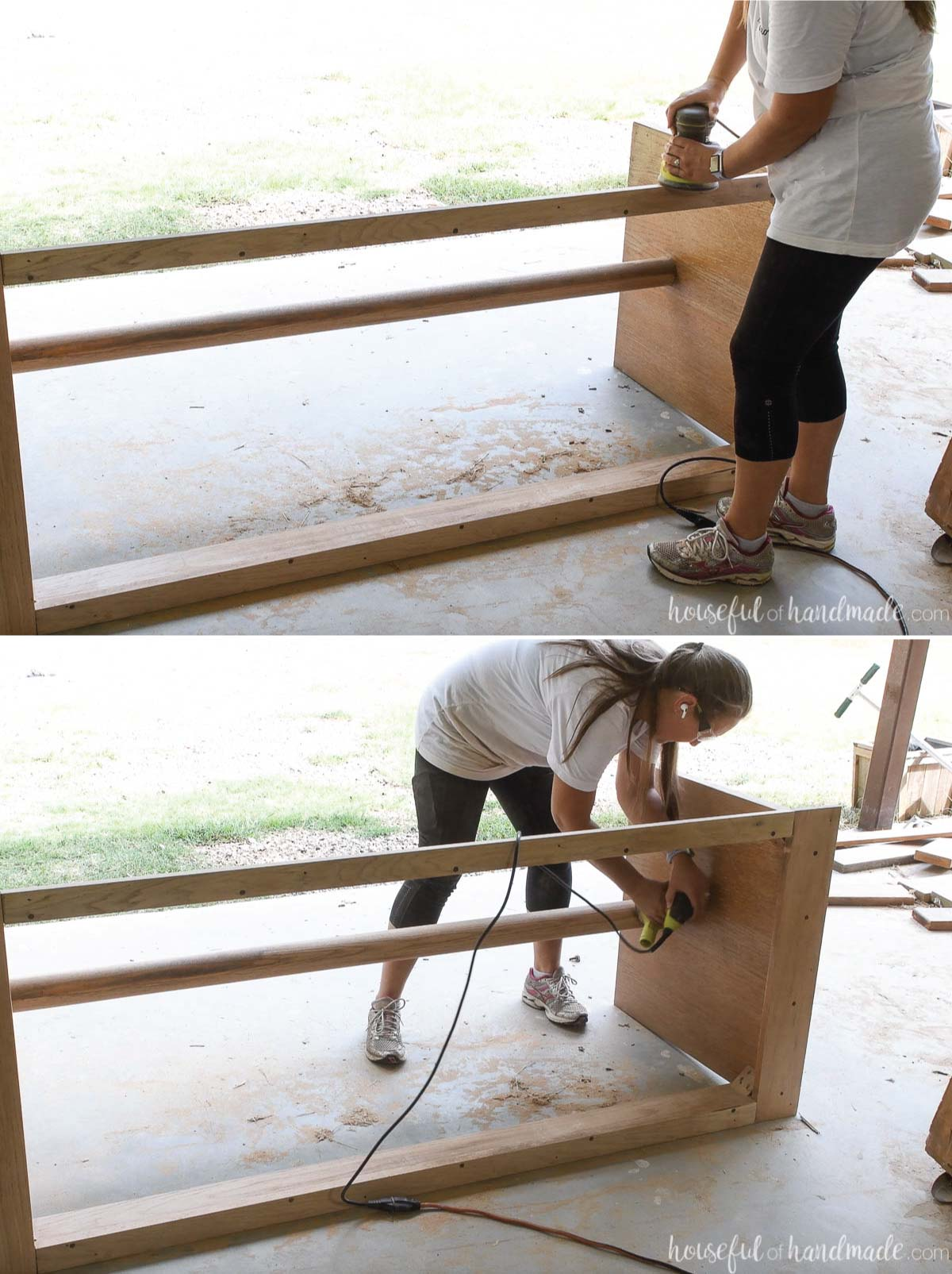 Two pictures showing sanding the base of a table with an orbital sander.