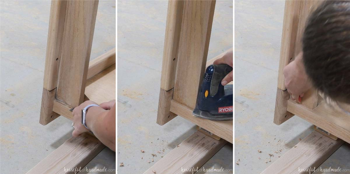 Showing how to get into corners of the table with a chisel, corner sander, and hand sanding.
